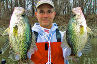 image of Jason Halfen with slab crappies