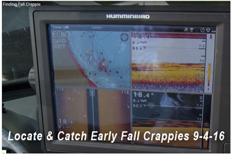 image links to fishing video, finding fall crappies