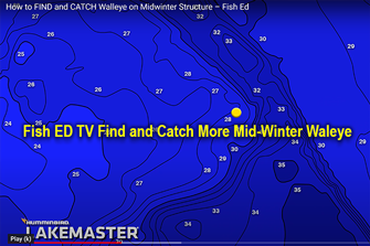 image links to Fish ED TV Video about mid-winter walleye