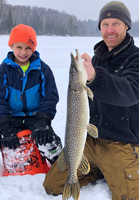 image of father and son with nice pike caught in the Ely area